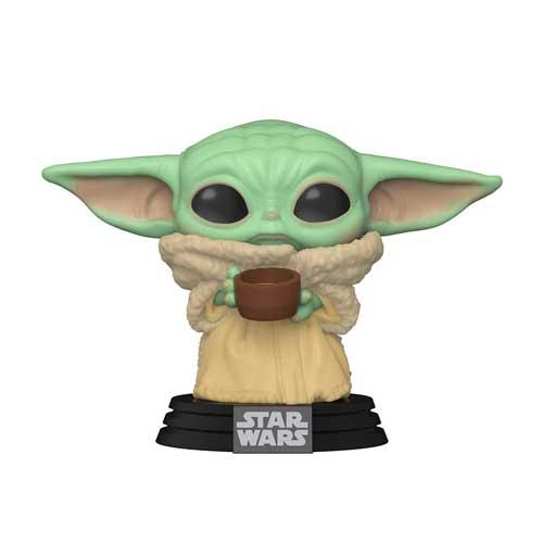 Photo de la figurine Pop Bébé Yoda avec son bol de bouillon d'os