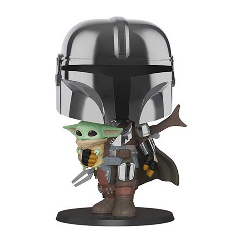 Photo figurine Pop Bébé Yoda dans les bras du Mandalorian