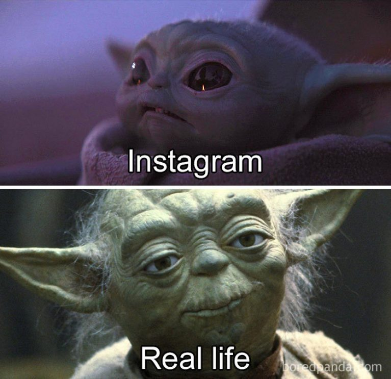 Bébé yoda instagram vs real life