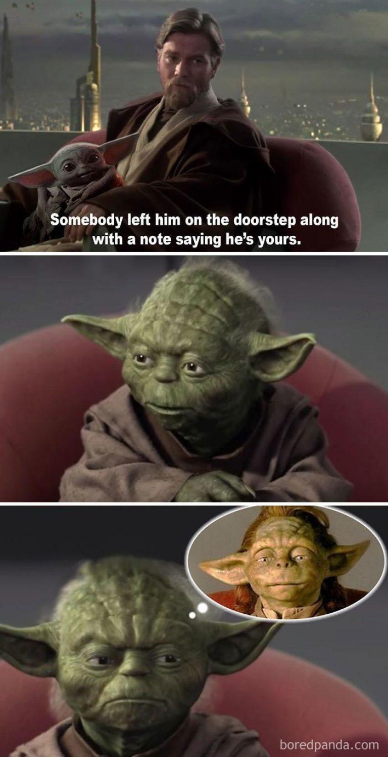 bébé yoda et Luke Skywalker